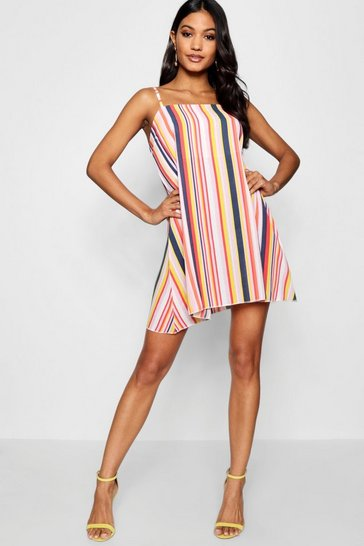Womens Square Neck Strappy Striped Cami Dress