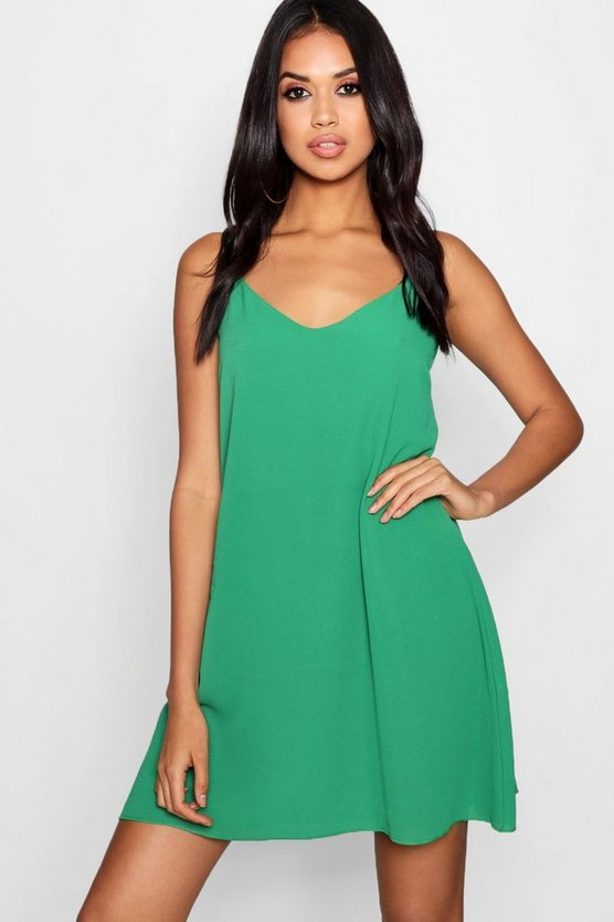 Plunge Front Woven Cami Dress