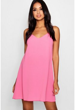 Womens Millennial pink Plunge Front Woven Cami Dress