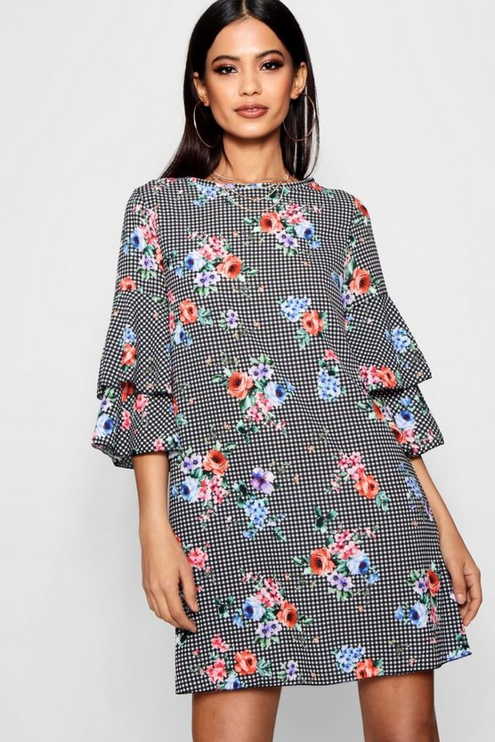 Floral Check Volume Sleeve Shift Dress