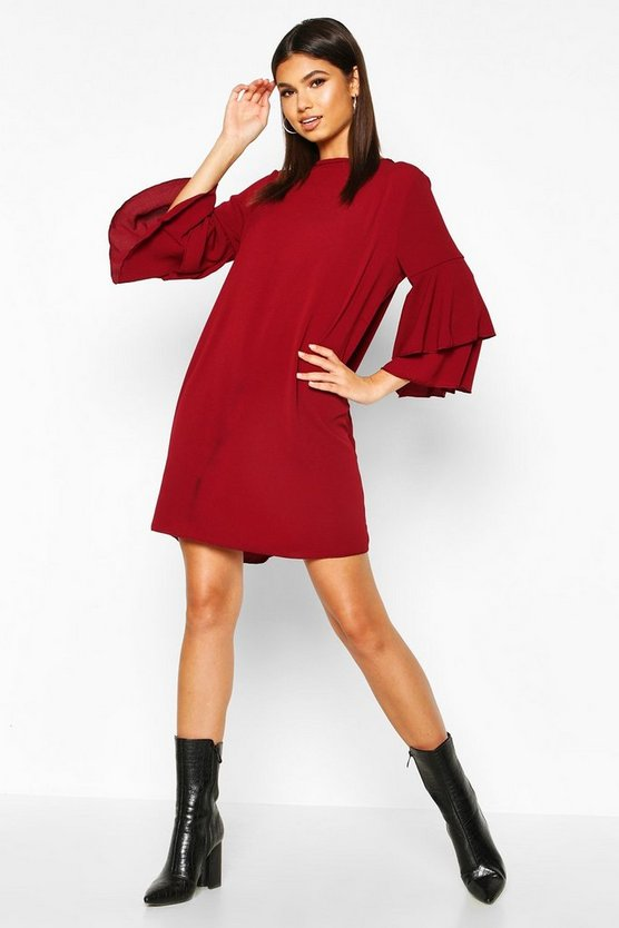 Womens Berry Volume Sleeve Woven Shift Dress