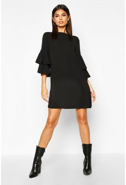 Womens Black Volume Sleeve Woven Shift Dress