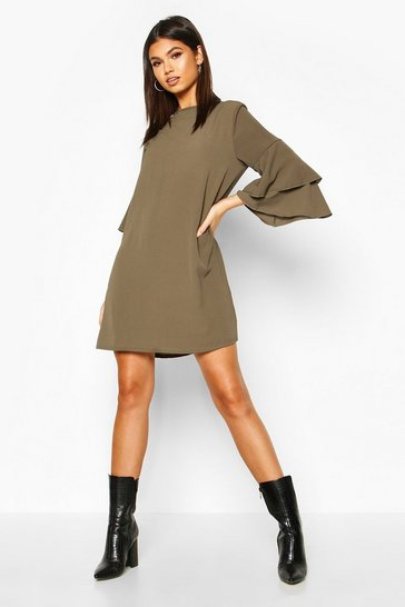 Womens Khaki Volume Sleeve Woven Shift Dress