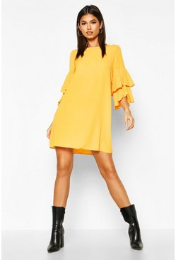 Mustard Volume Sleeve Woven Shift Dress