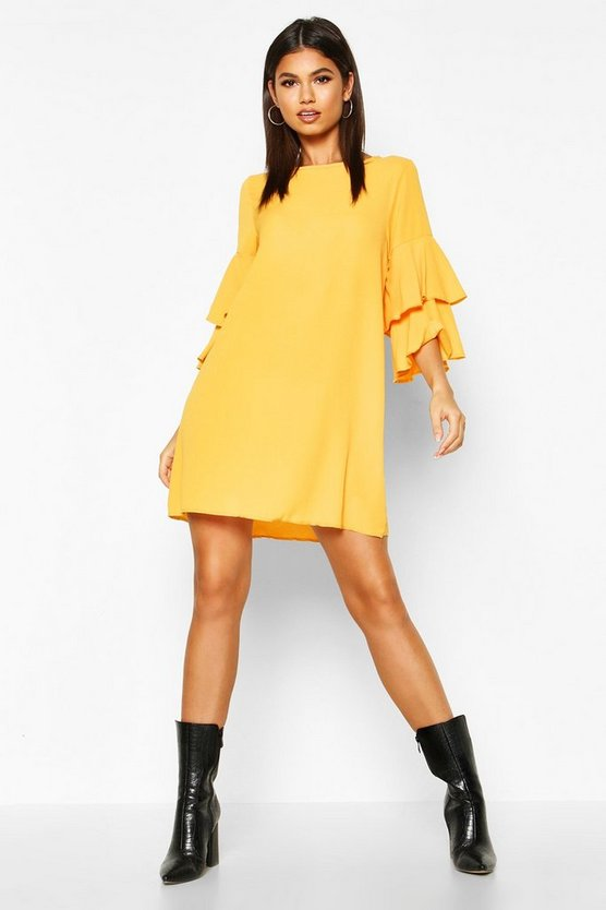 Womens Mustard Volume Sleeve Woven Shift Dress