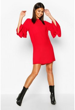 Red Volume Sleeve Woven Shift Dress