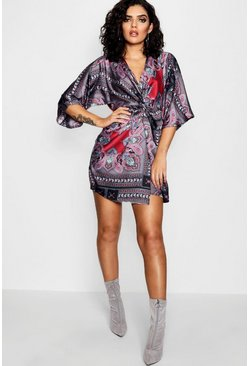 Womens Grey Luxe Scarf Print Knot Front Shift Dress