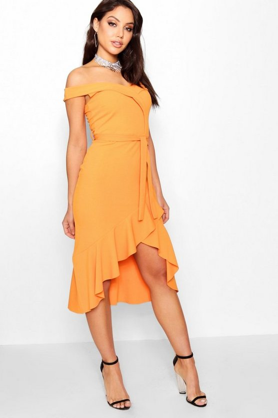 Off the Shoulder Tie Midi Skater Dress