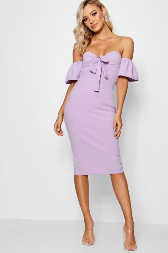Womens Lilac Tie Front Off the Shoulder Midi Dress