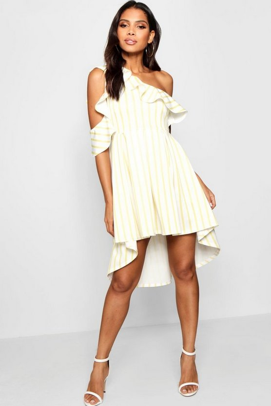 Stripe Frill Shoulder Detail Skater Dress