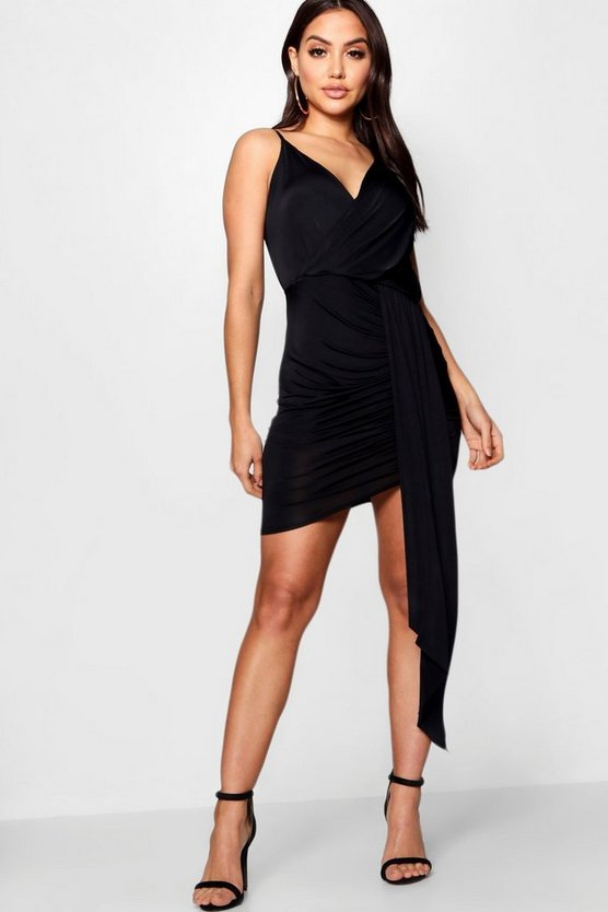 Slinky Wrap Detail Bodycon Dress
