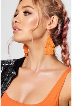 Womens Orange Tiered Tassel Earrings