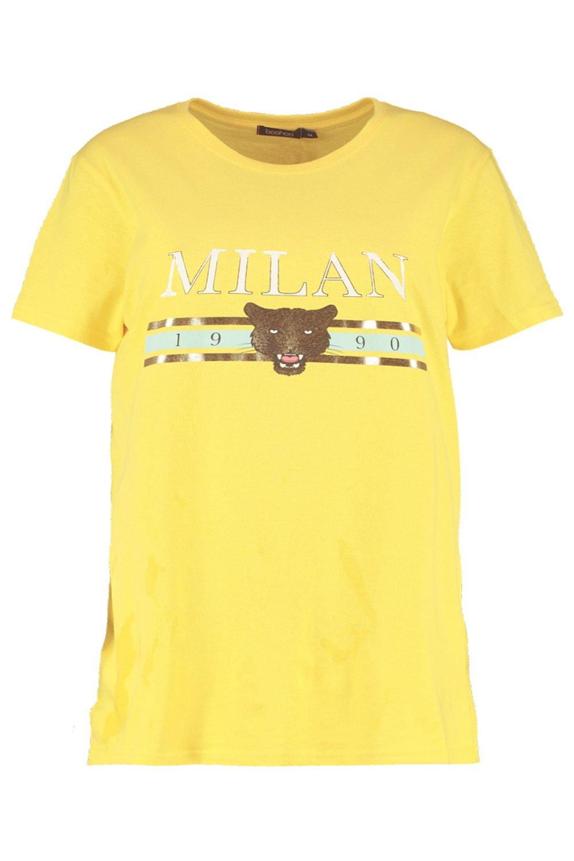 yellow pasteles estampado eslogan tonos metálicos con Camiseta en Xvq0zxw