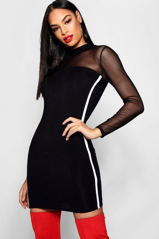 Mesh Sports Stripe Bodycon Dress