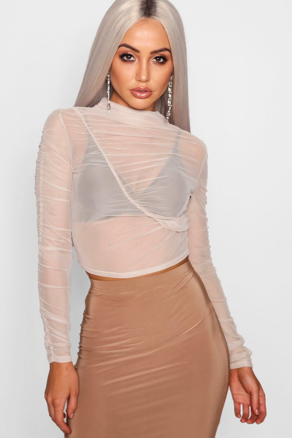 c4cb75132bd3a4 Mesh Ruched Long Sleeve Crop Top