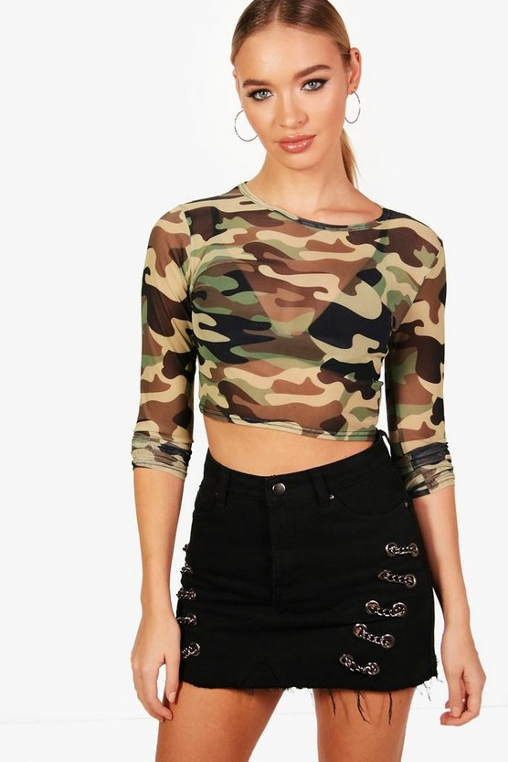 Womens Khaki Camo Mesh Long Sleeve Crop