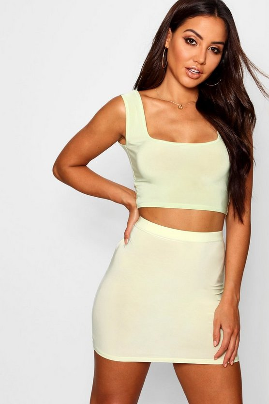 Womens Lime Slinky Square Neck Bralet