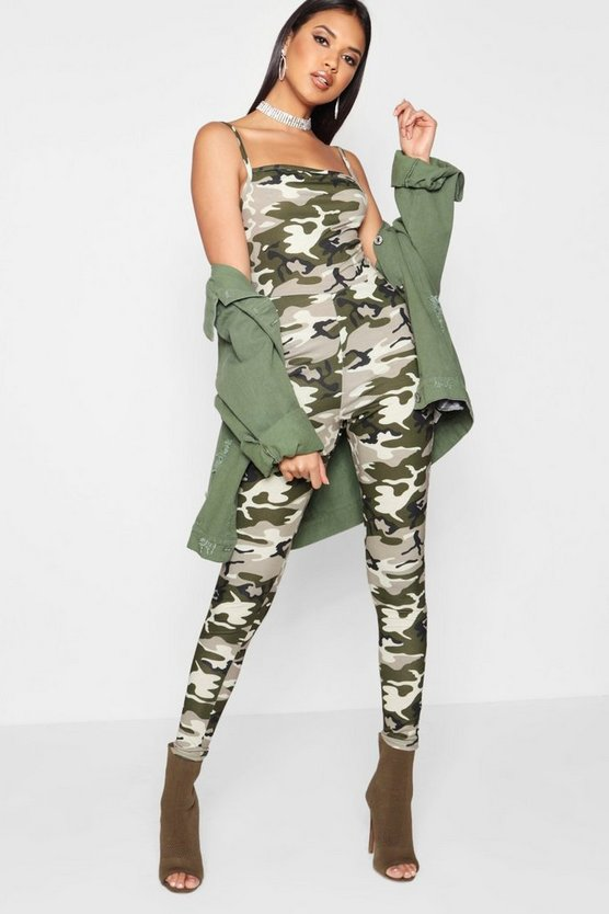 Womens Green Camo Unitard