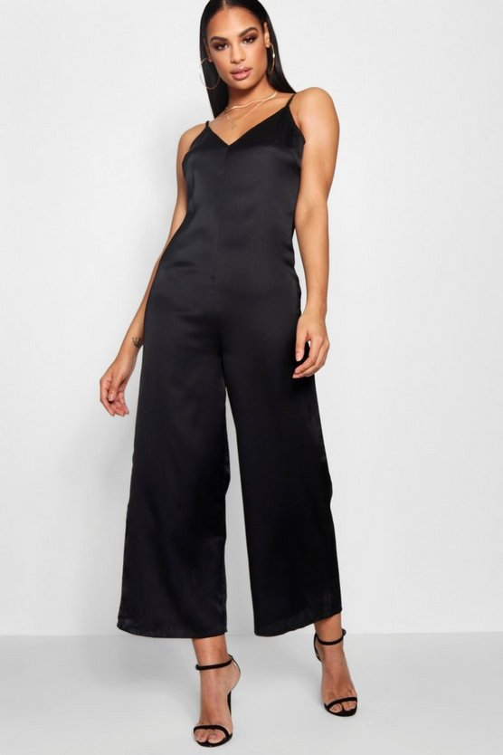 Strappy Cami Luxe Satin Wide Leg Jumpsuit