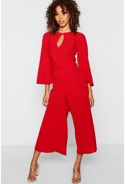 Womens Red Tie Front Culotte Leg Jumpsuit