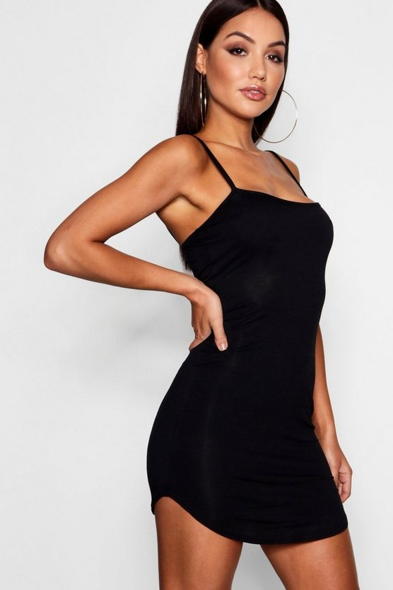 Womens Black Jersey Square Neck Curved Hem Mini Dress