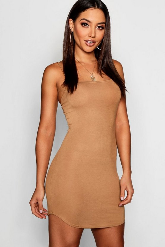 Jersey Square Neck Curved Hem Mini Dress