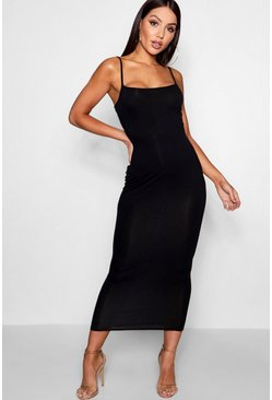 Black Jersey Square Neck Midaxi Dress