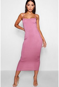 Rose Jersey Square Neck Midaxi Dress