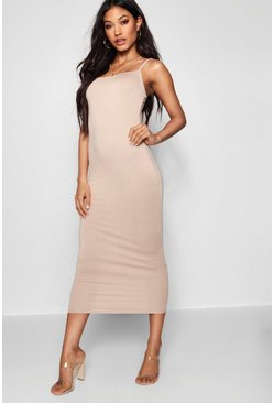 Sand Jersey Square Neck Midaxi Dress