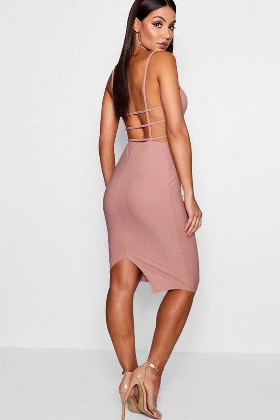 Square Neck Open Back Midi Dress