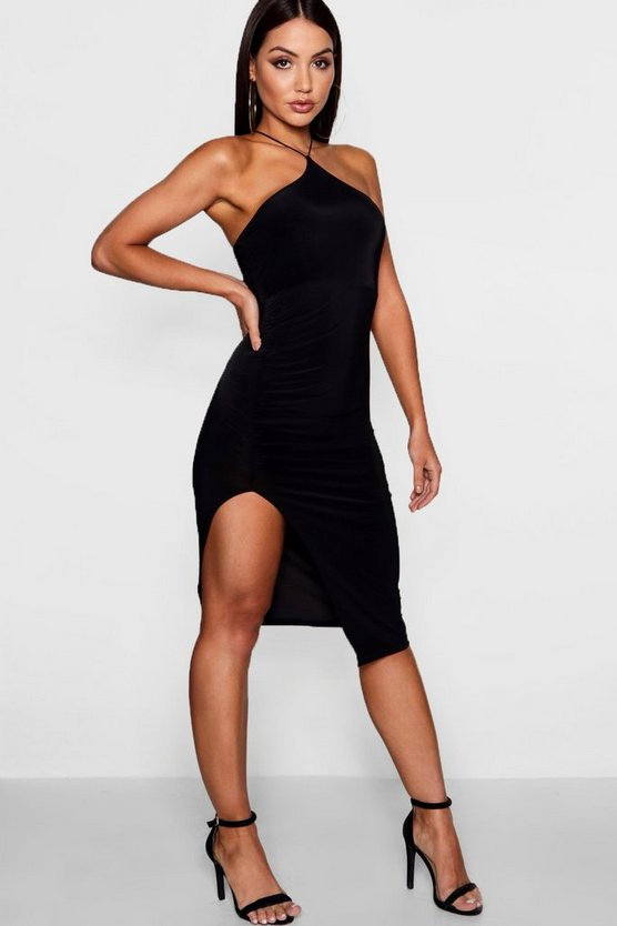 Womens Black Strappy Neckline Ruched Midi Dress
