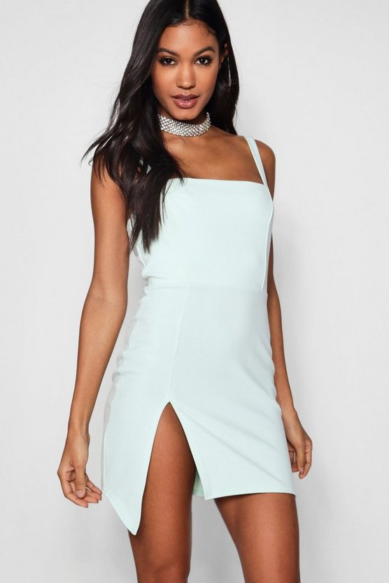 Square Neck Thigh Split Bodycon Dress