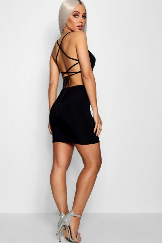 Womens Black Strappy Back Detail Bodyon Dress