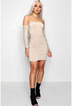 Womens Stone Ruched Off the Shoulder Bodycon Dress
