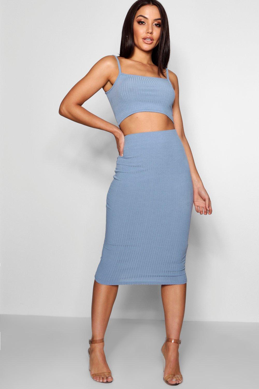 y top Conjunto cuadrado de cuello tirantes azul y con medio midi falda U07w0