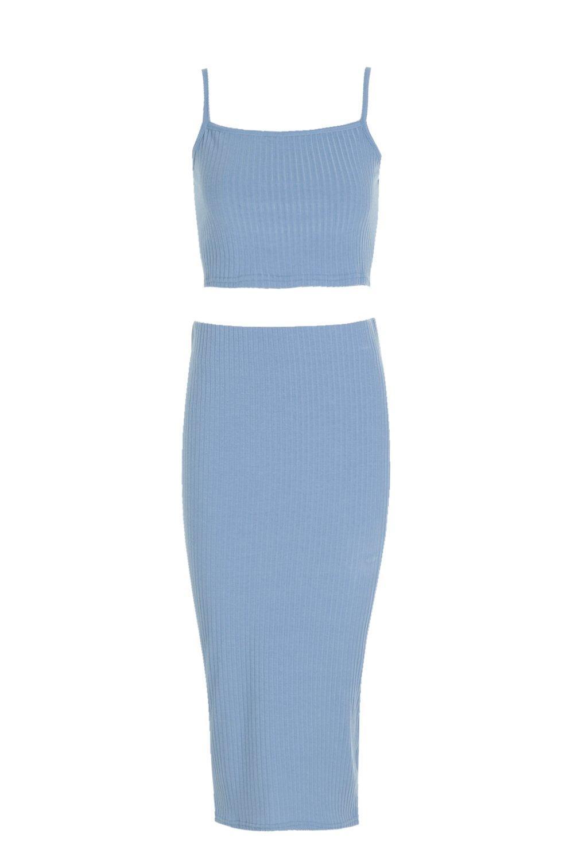 midi top de y tirantes Conjunto medio con cuello cuadrado azul falda y 5zndnq