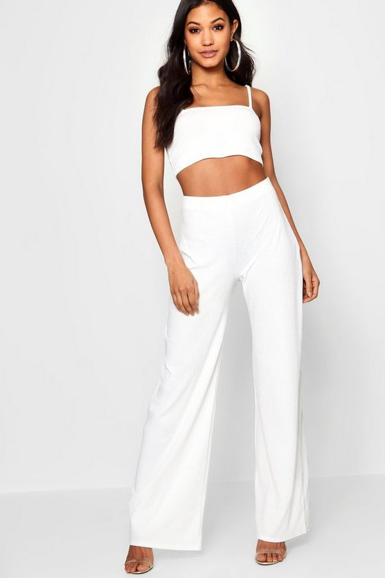 Square Neck Rib Top & Trouser Co-Ord
