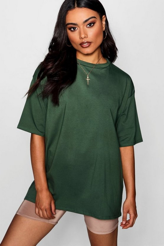 Womens Khaki Oversized Boyfriend T-Shirt