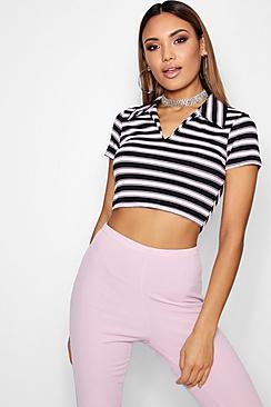 Stripe Rib Short Sleeve Polo