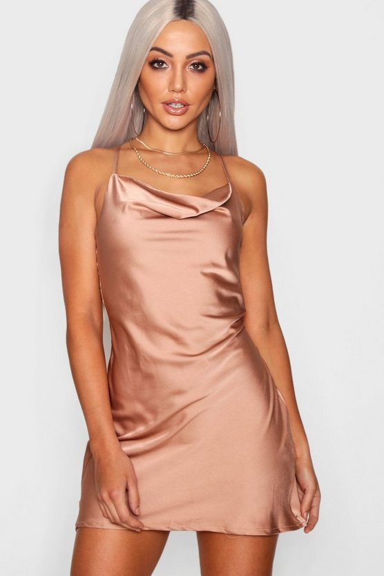 Strappy Cowl Neck Luxe Satin Mini Dress
