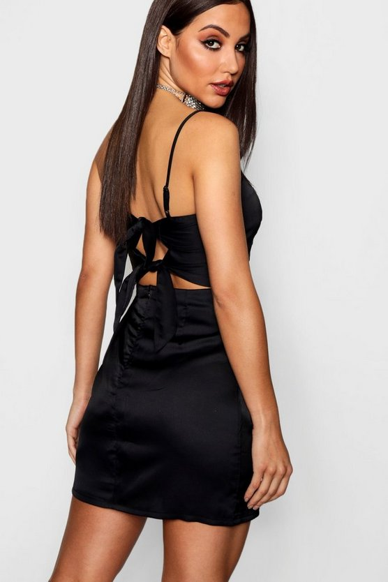 Double Bow Back Luxe Satin Mini Dress