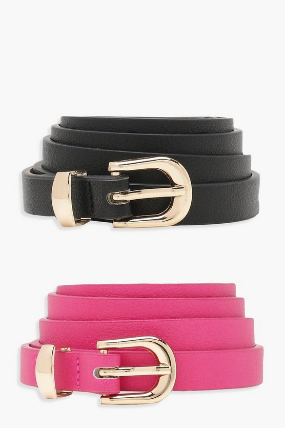 Womens Bright pink 2 Pack Skinny Belt