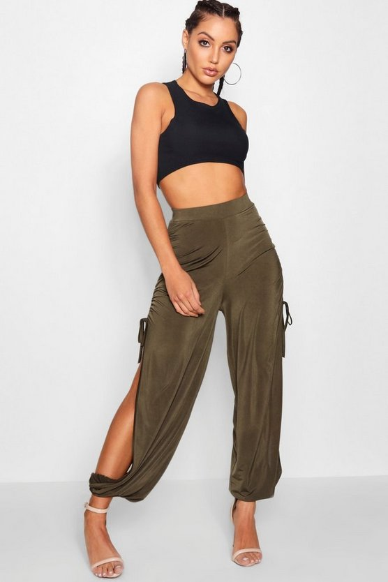 Drawcord Split Side Slinky Trousers