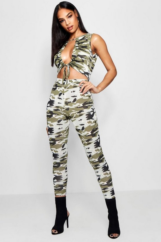 Camo Ruched Cut Out Front Unitard