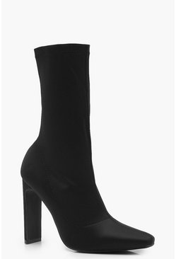 Womens Black Slim Straight Heel Sock Boots