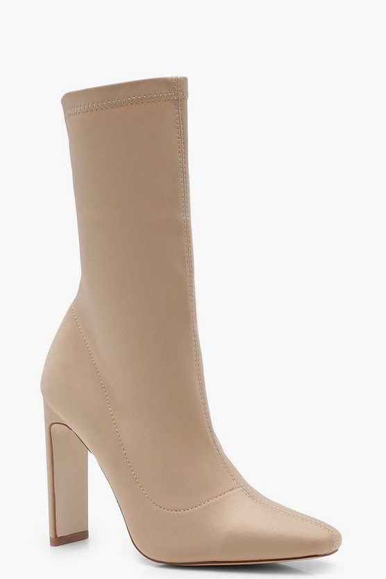 Womens Nude Slim Straight Heel Sock Boots