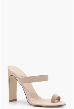 Womens Nude Toe Post Mule Heels