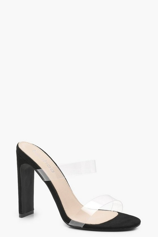 Black Double Clear Band Mule Heels