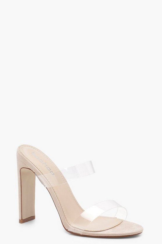 Womens Nude Double Clear Band Mule Heels