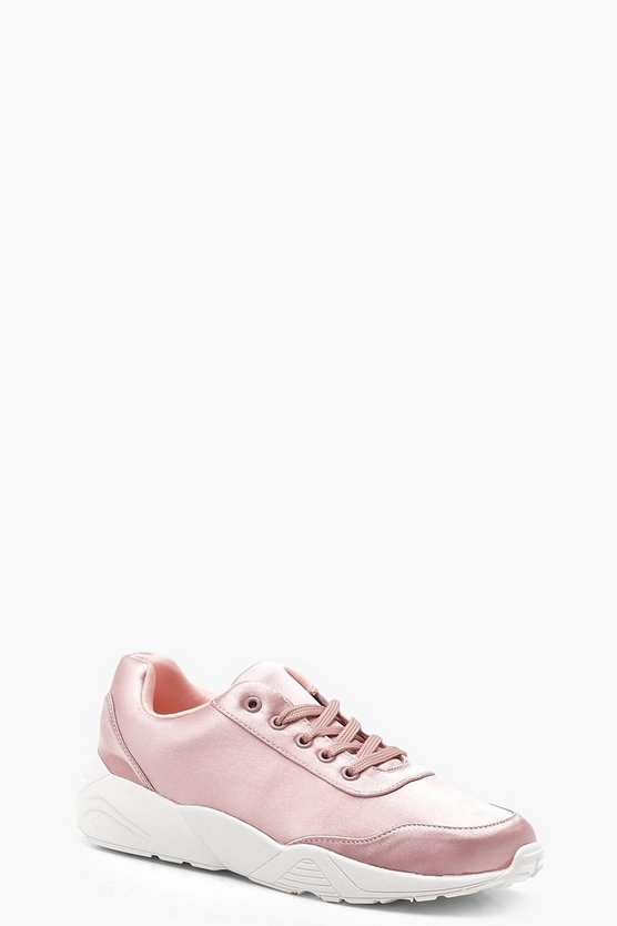 Baby pink Satin Chunky Sole Sneakers